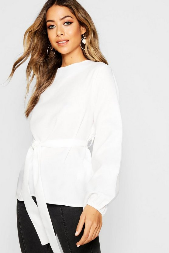 Slash Neck Tie Waist Blouse