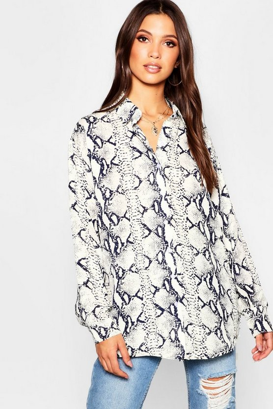 Womens Navy Oversized Snake Print Shirt