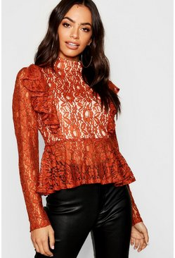 Womens Rust Premium Lace Peplum Top