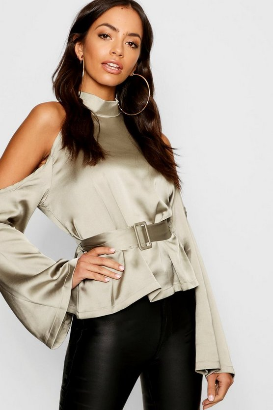 Satin Cold Shoulder Belted Top