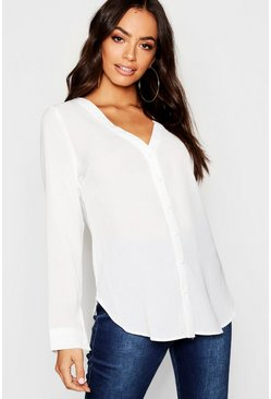 Womens White V Neck Blouse