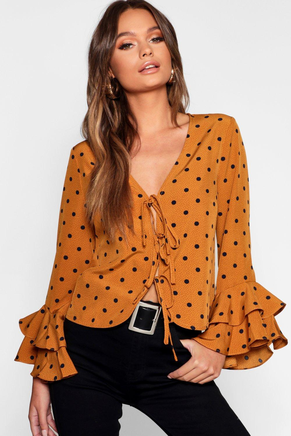 Blouse mustard Spot Tie Front Print qwSt0S