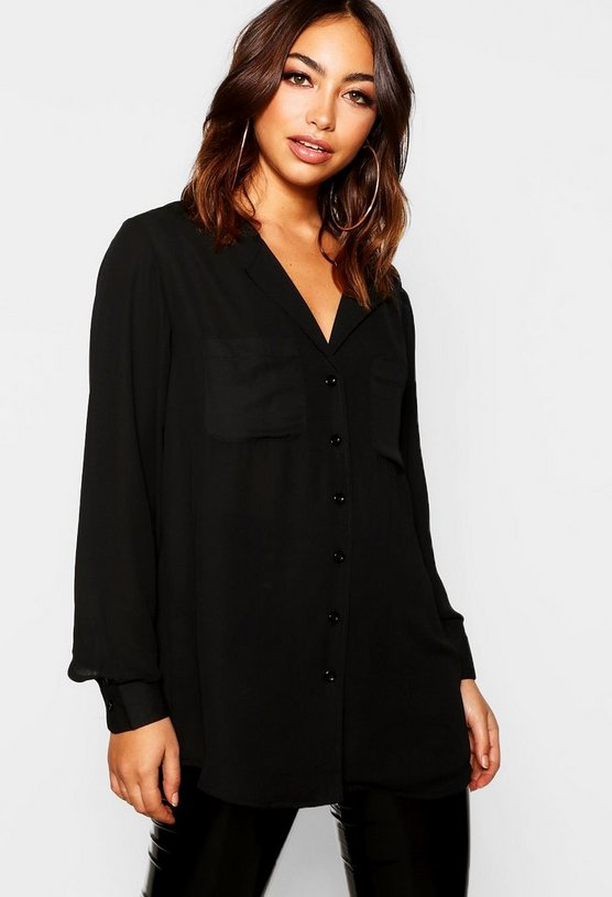 Womens Black Pocket Detail Collarless Blouse