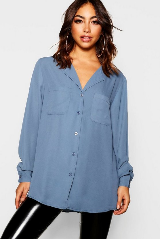 Womens Ocean blue Pocket Detail Collarless Blouse