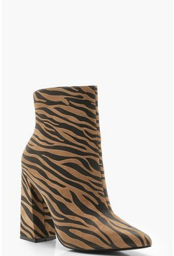 Womens Tan Zebra Pointed Block Heel Boots