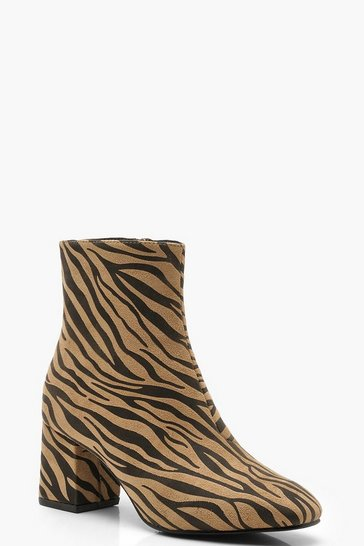 Womens Tan Zebra Low Block Heel Shoe Boots