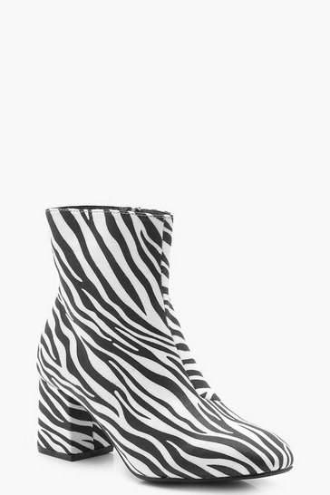 Womens Black Zebra Low Block Heel Shoe Boots
