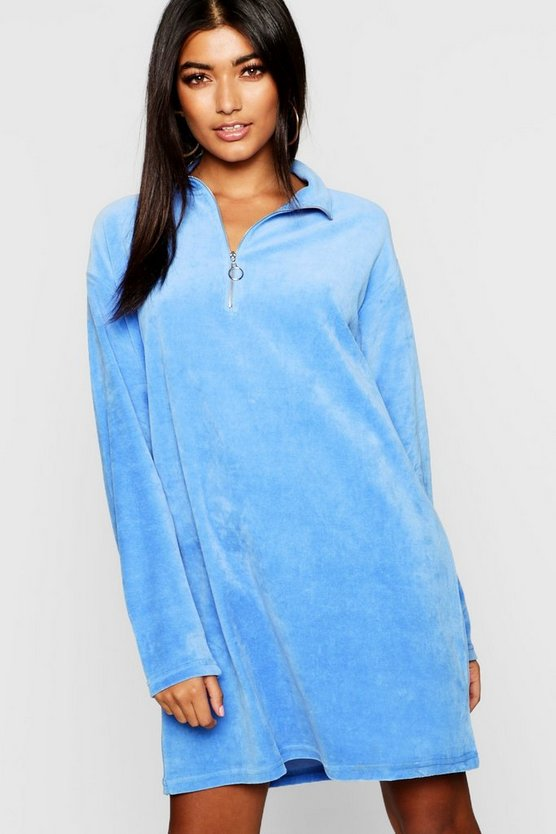 Velour Zip Through Sweat Dress