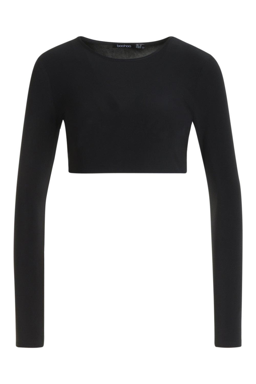Crop black Sleeve Top Long Block Colour HXwtUU