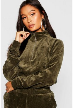 Womens Khaki Velour Zip Front Sweat