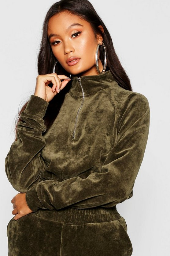Velour Zip Front Sweat