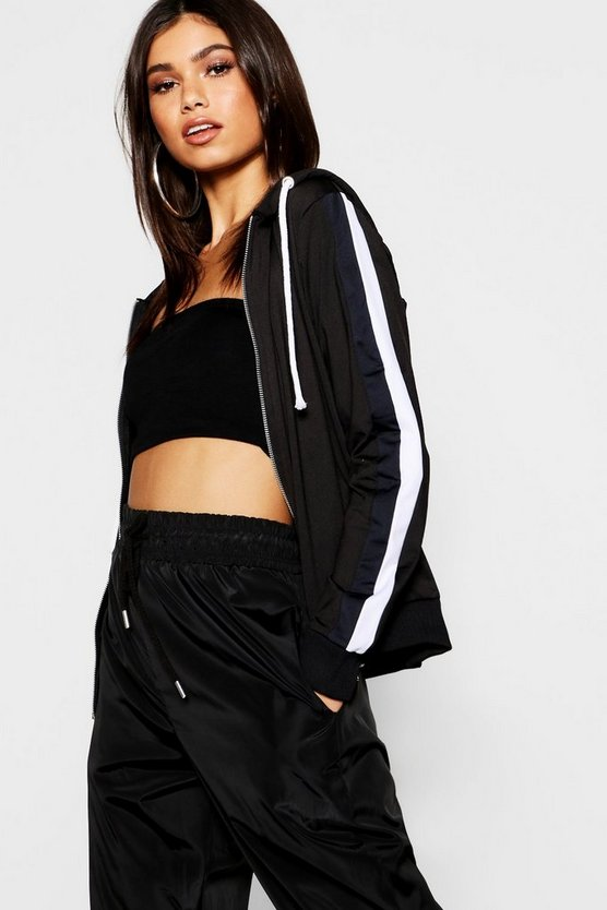 Womens Black Tricot Panelled Zip Through Hoody