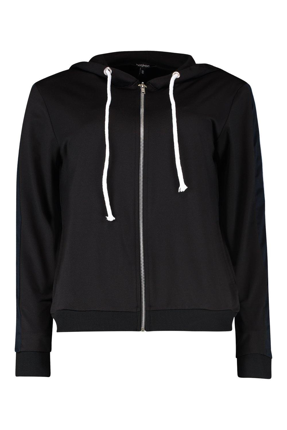 Through Tricot black Hoody Zip Panelled XnnzgY