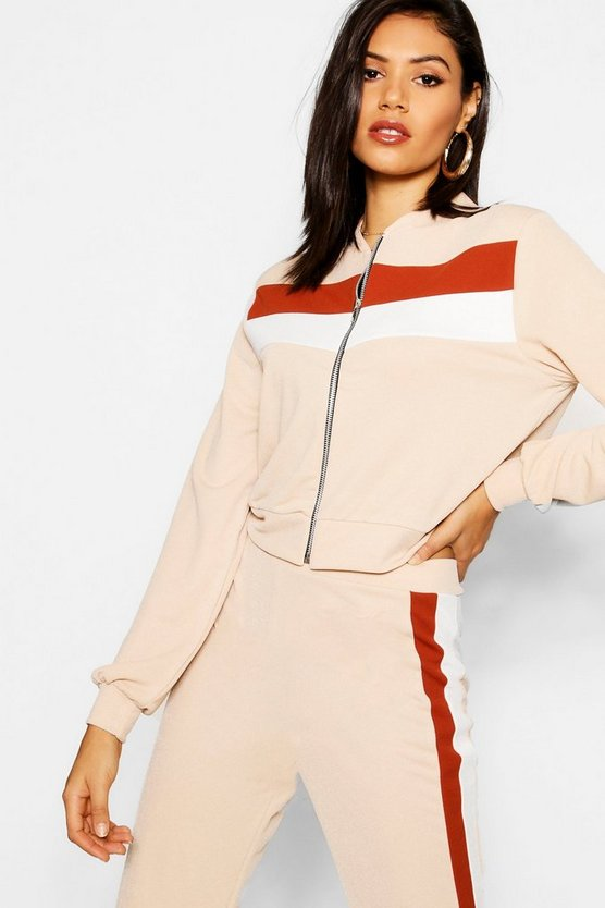 Zip Through Colour Block Tracksuit Jacket