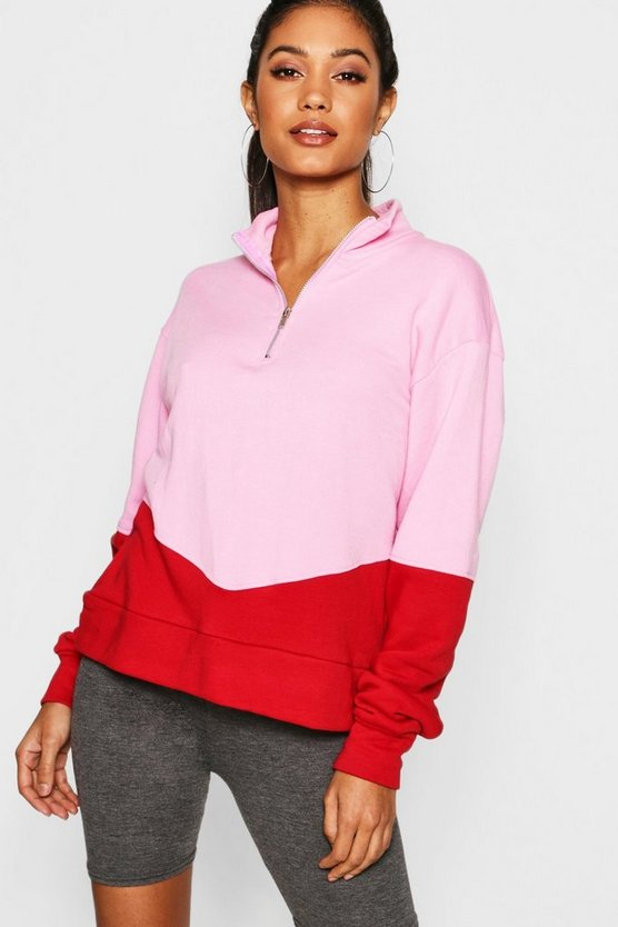 Colour Block Zip Through Sweater