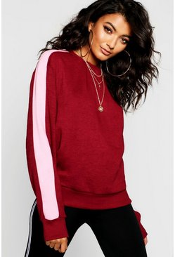 Womens Berry Colour Block Sleeve Detail Sweat