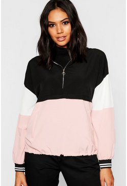 Pink Woven Colour Block Ring Puller Hooded Sweat