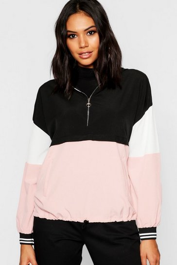 Womens Pink Woven Colour Block Ring Puller Hooded Sweat