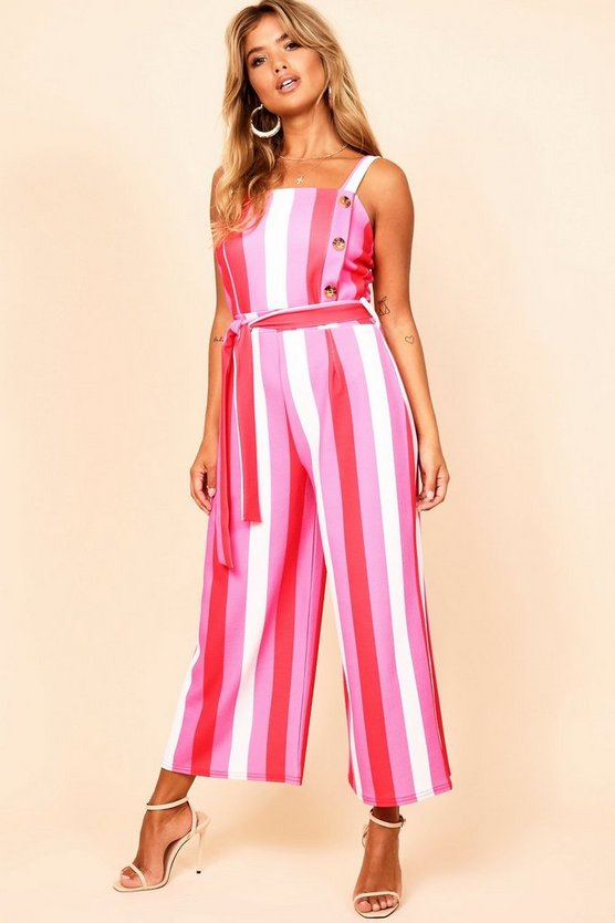 Striped Button Detail Culotte Jumpsuit