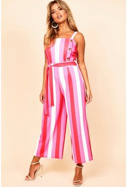 Womens Stripe Striped Button Detail Culotte Jumpsuit