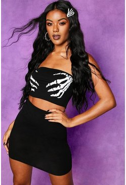 Womens Black Halloween Skeleton Hands Bandeau + Skirt Co-ord