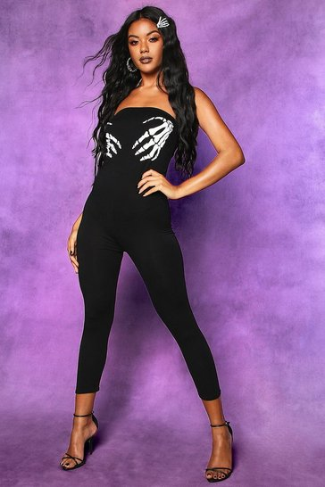 Womens Black Halloween Skeleton Hands Bandeau Jumpsuit