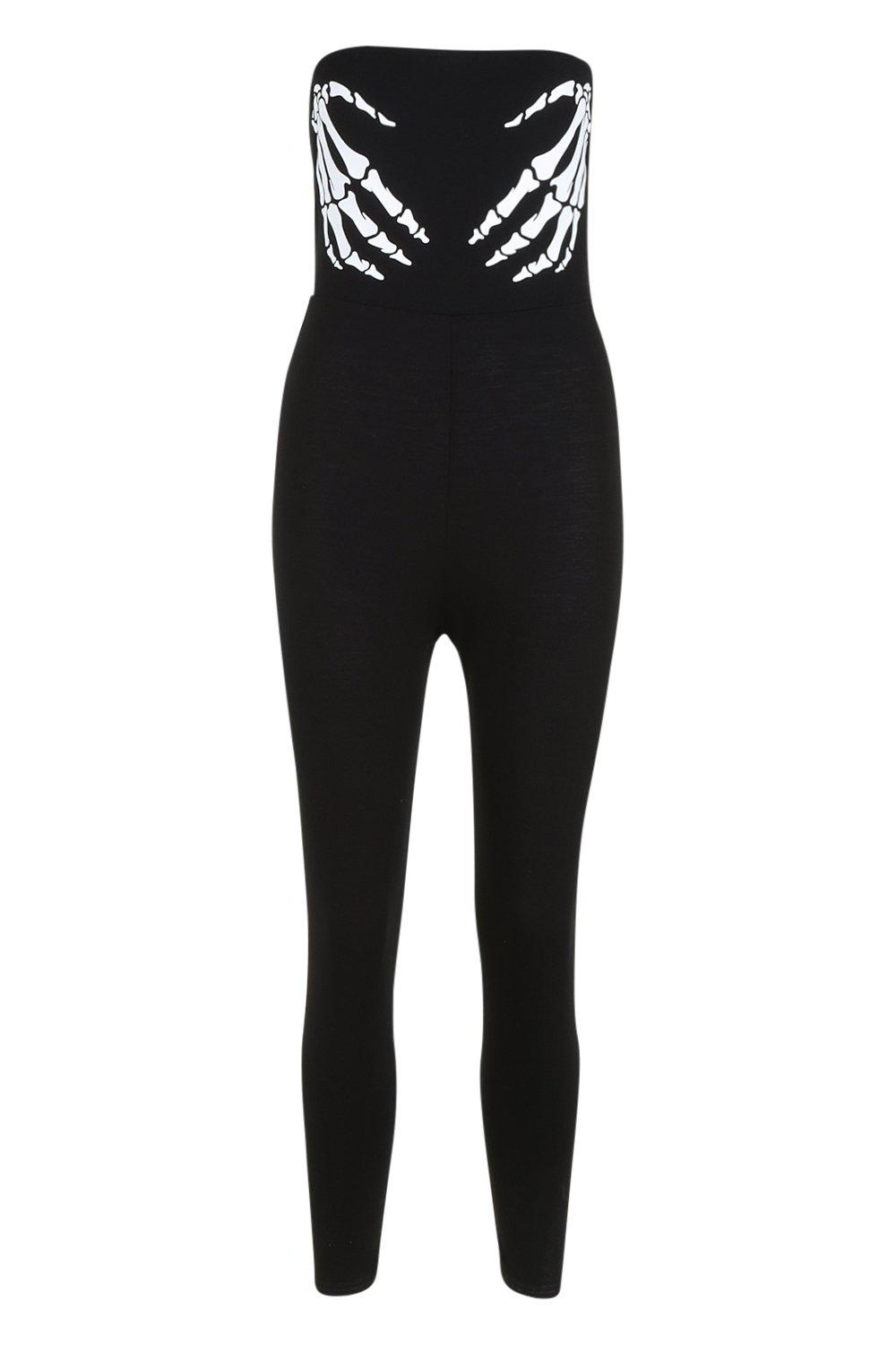 Halloween black Jumpsuit Hands Skeleton Bandeau rqxwvTIrfn