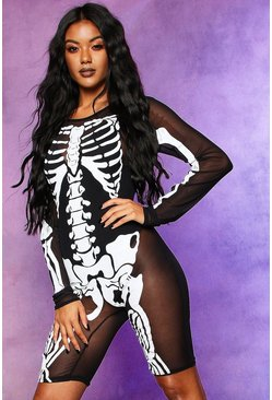 Halloween Skeleton Mesh Playsuit, Black, FEMMES