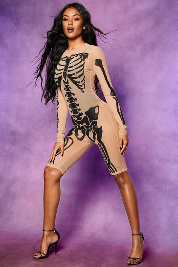 Womens Nude Halloween Skeleton Mesh Playsuit