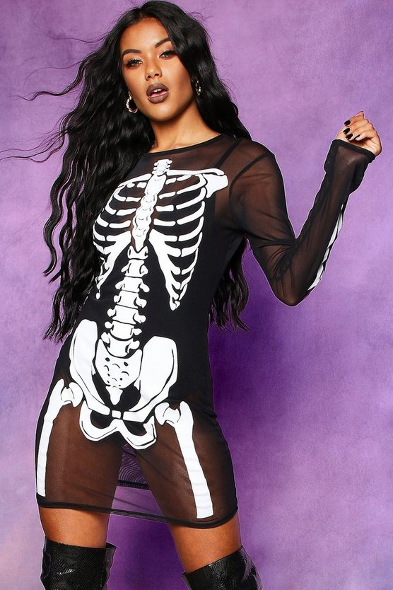 Black Halloween Skeleton Mesh Neck Mini Dress