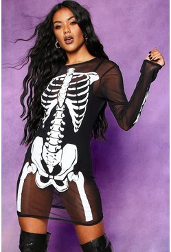 Womens Black Halloween Skeleton Mesh Neck Mini Dress