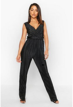 Womens Black Plisse Plunge Jumpsuit