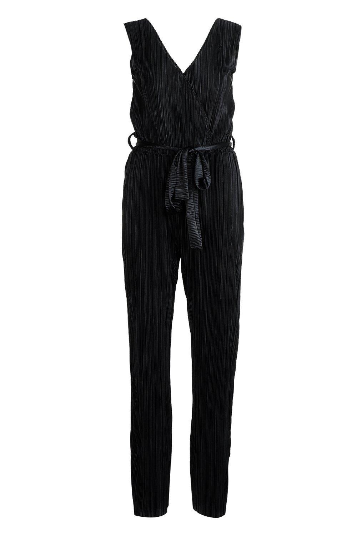 Plisse Jumpsuit black Plisse Plunge Plunge BaxXS5wn