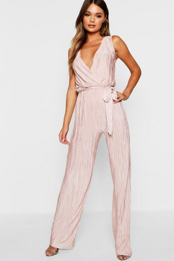 Womens Rose Plisse Plunge Jumpsuit