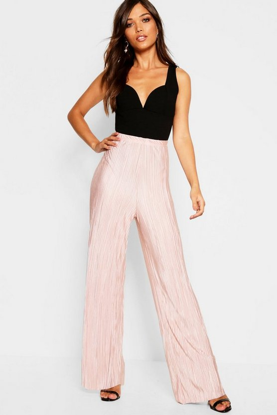Womens Rose Plisse Pleated Wide Leg Trouser