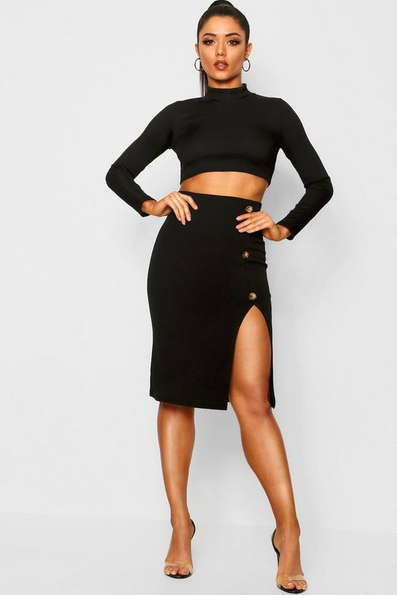 Mock Horn Button Split Front Midi Skirt