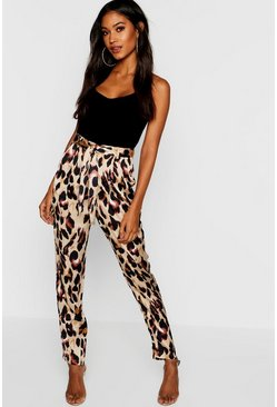 Womens Stone Leopard Print Tie Waist Satin Slim Fit Trousers