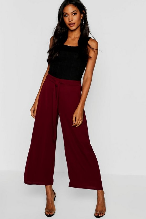 Woven Tie Front Culottes