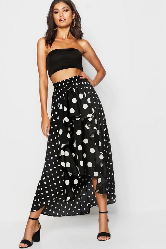 Womens Black Mixed Polka Dot Ruffle Midi Skirt