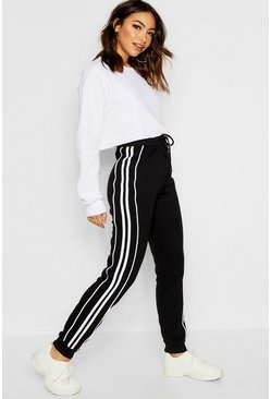 Womens Black Side Stripe Sweat Jogger