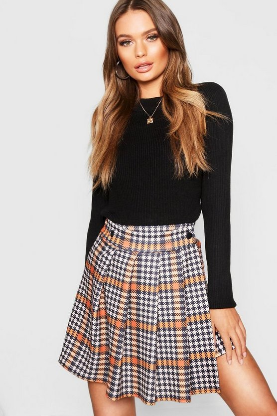 Womens Orange Dogtooth Pleated Wrap Mini Skirt