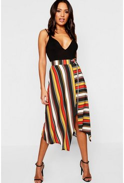 Womens Rust Woven Contrast Stripe Midi Skirt