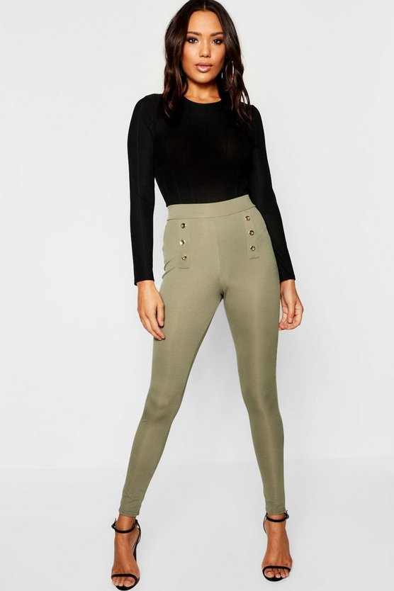 Gold Button Ribbed Leggings