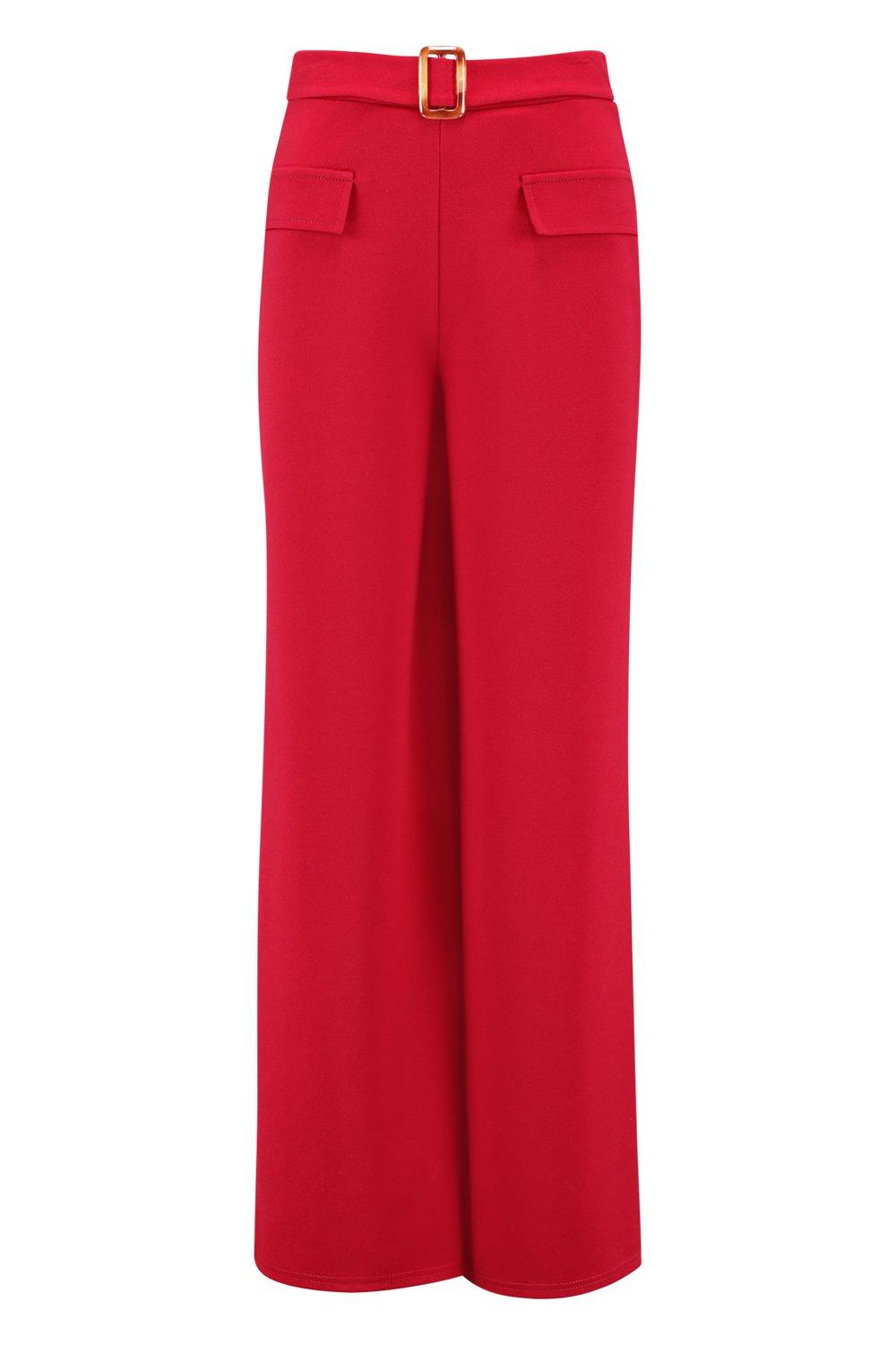 Wide Horn Front Pocket Trousers berry Mock Leg Belt qZfEIx4