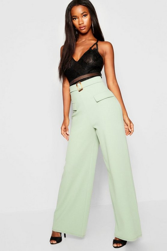 Pocket Front Mock Horn Belt Wide Leg Trousers