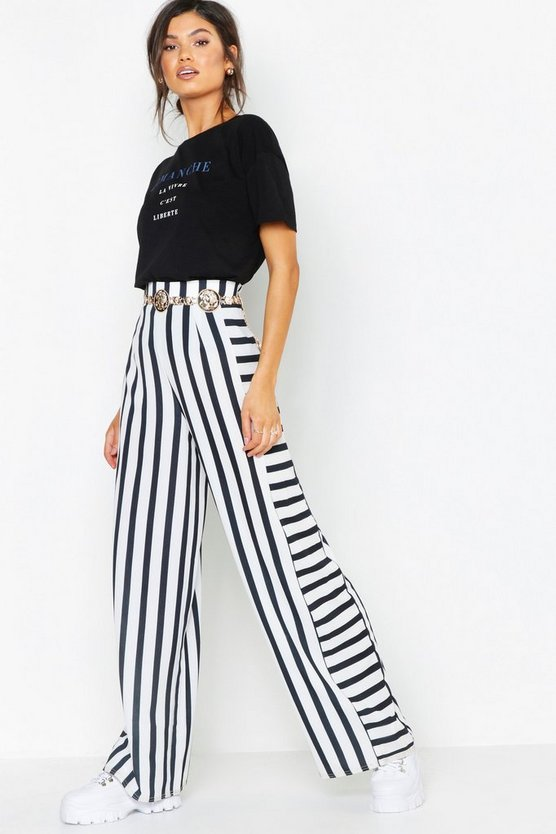 Womens Black Contrast Stripe Woven Wide Leg Pants