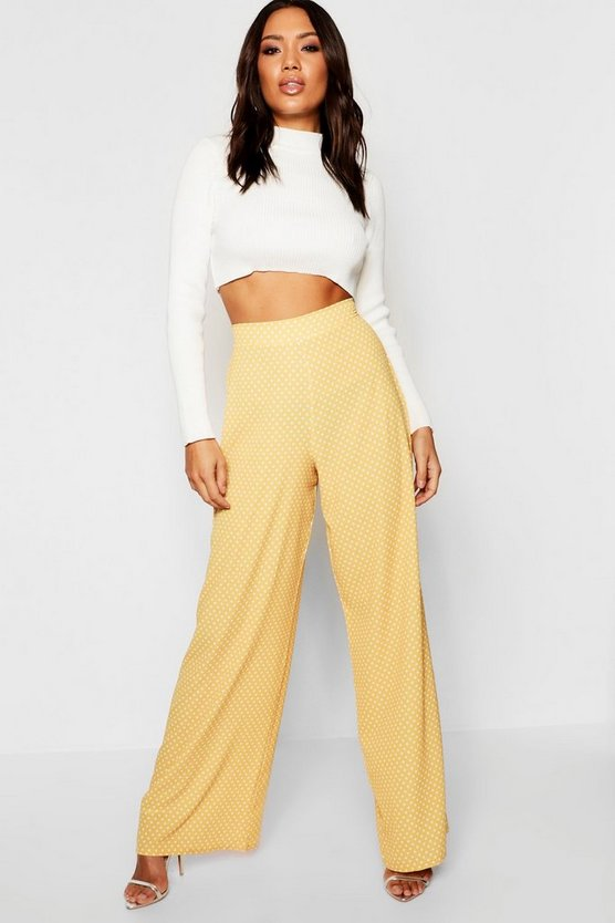 Womens Mustard Woven Polka Dot Wide Leg Trousers