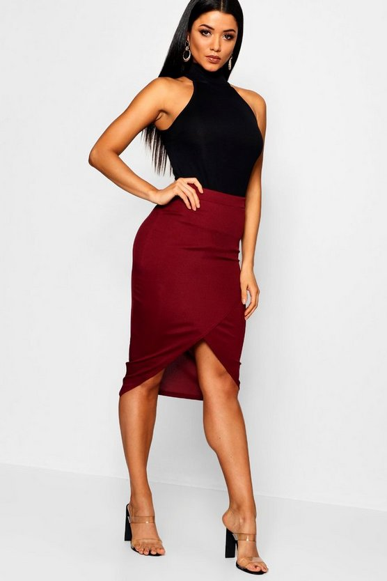 Womens Berry Wrap Split Front Ribbed Midi Skirt