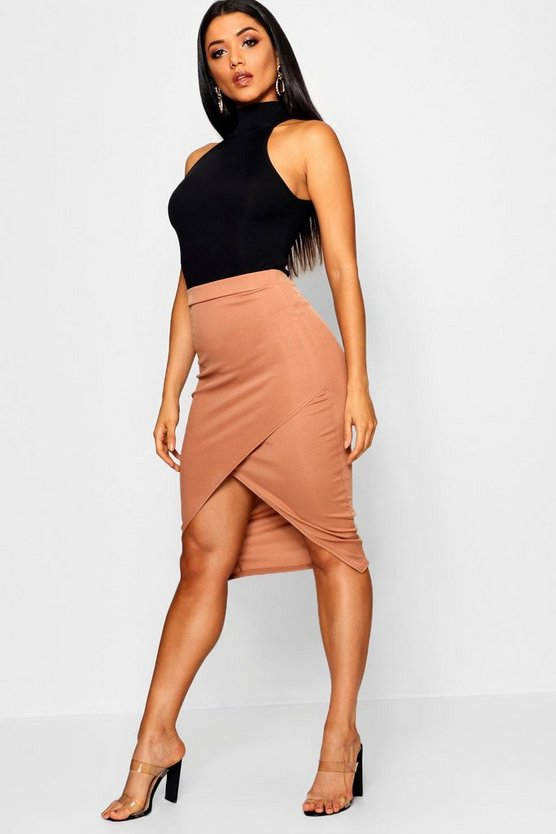 Wrap Split Front Ribbed Midi Skirt