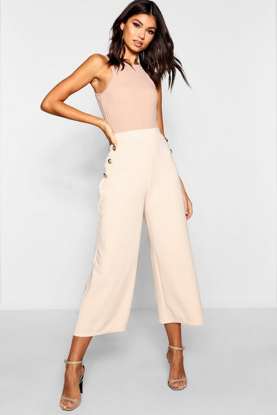 Gold Button Wide Leg Culottes